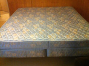 King size mattress, box spring and bed frame
