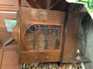 Walnut China Cabinet 1930s