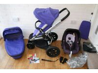 Quinny Buzz Xtra pram travel system 3 in 1 Purple Pace *can post*