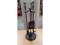 3 piece fire companion set in pewter and black. Brand new in box
