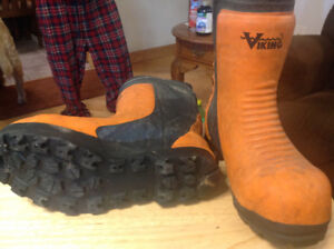 Viking chain saw boots two pair one pair studded good cond