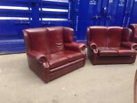 PAIR 🔥Superior🔥 deluxe chesterfield genuine leather wingback queens Anne Settee sofas