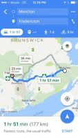 Looking for weekly Fredericton-Moncton and back rideshare