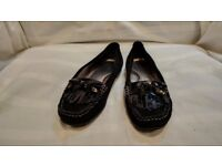 Black Leather Peppermint Flat Shoes Size 5