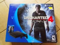 New Playstation 4 500GB Console with Uncharted 4 Unopened
