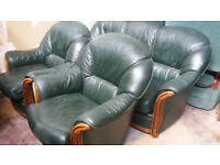 green 3 seater leather sofa and 2 armchairs