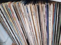Around 100 vinyl records