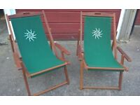 Rimini Traditional Deck Chair with Armrests Hardwood Frame x 2