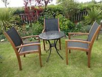 GARDEN SET -- CAST ALUMINIUM TABLE AND 3 WESTMINSTER TEAK CHAIRS --
