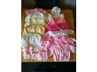 Hand knitted cardigans 0-6 months