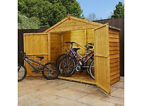 7x3 Overlap Apex Bike Shed - Brand new unassembled with all fixings, solid floor and roof felt