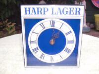 """HARP LAGER BLUE CLOCK - BATTERY OPERATED - 7"""" high x 6 1/4"""" wide x 2 1/2"""" deep - GOOD CONDITION"""