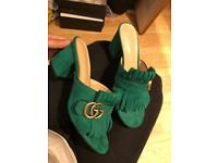 Gucci Green suede sandals shoes slides