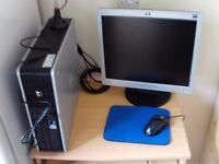 Windows 7 Professional Pc for sale with monitor mouse, keyboard desk and chair. £100