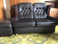 Black Leather Two Seater Settee with Footstool