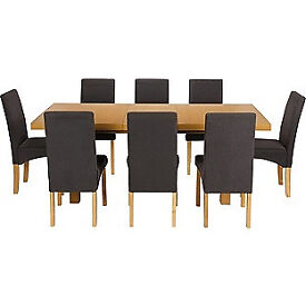 Cosgrove Ext Oak Stain Dining Table And 8 Charcoal Chairs