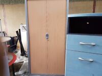 Full size tambour storage cabinet office with wood effect door