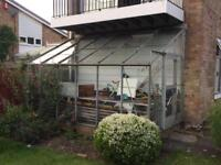 Aluminium lean-to glass greenhouse