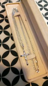 10k white gold chain an cross
