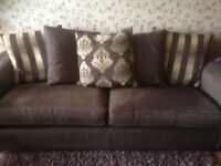 (Gillies) Brown and Gold 4 seater sofa