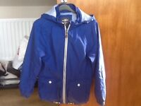 BOYS H&M JACKET AGE 11-12 YEARS - BLUE COTTON/CANVAS MATERIAL WITH DETACHABLE HOOD - GOOD CONDITION