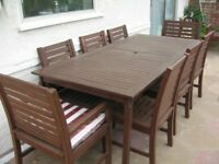 GARDEN TABLE AND 8 CHAIRS SET