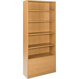 Maine 2 Drawer Extra Deep Bookcase - Oak Effect