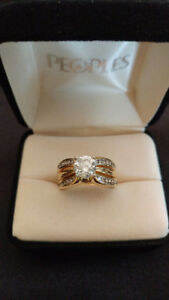 Diamond Ring Set -White and Yellow Gold bands