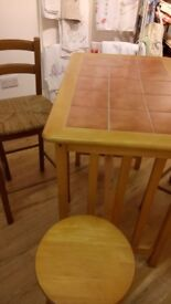 Tiled top high table and stools £80
