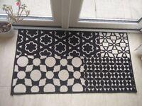 """benuta Patchwork Swing Modern Rug Black/White 60x110 cm (2ft x 3ft7"""")"""