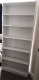 Tall White Wood Bookcase/ Shelving Unit [H 180cm x W 78cm x D 19cm]