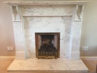 Marble fireplace with fire insert
