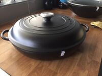 Brand new Satin Black Le Creuset Casserole with lid