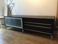 Imported Cellini TV stand with two drawers and sliding glass