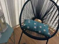 Modern Teal coloured Marks and Spencer wicker chairs