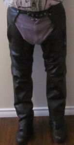 Premium Black Naked Cowhide Leather Chaps