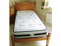 Solid Pine Single Bed with Nearly New Mattress - OFFERS ACCEPTED