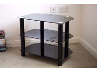 Black Glass Shelf TV Stand