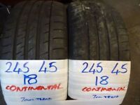 SET OF 4 245 45 18 CONTIS 7mm TREAD £80 PAIR £150 set of 4 SUPP & FITTED open sun till 4.40pm