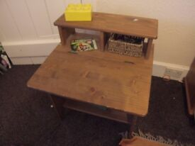 Desk for small child. Solid with hinged lid, top shelf and cubby holes