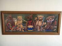 Beautiful Teddy Bear Picture by SR Sanders - Wood Frame - Baby Nursery or Childs Bedroom Furniture