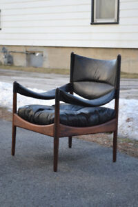 Mid Century Rosewood and Leather Danish Arm Chair