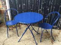 Bistro garden table and chairs blue £85