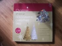 BRAND NEW SILVER HOLOGRAPHIC 3 FT POP UP CHRISTMAS TREE