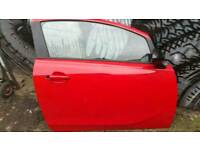 Corsa D driver's door complete in red with mirror