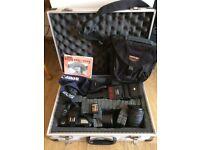 Canon EOS 1000F film camera, aluminium metal case, 2 x lens, Cobra flash, plus more accessories