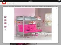 Metal Framed Single Bunk Bed With Built-in Futon Base (Grey & Pink Futon)