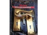 Door Handles on Polished Brass Plates
