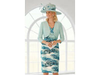 stunning Condici size 10 mother of the bride dress, jacket and matching hat, this year's design
