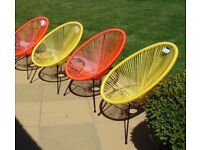 """""""Love Island"""" 4 New Garden Chairs. Retro Design in Red and Yellow. Unused & Tags. Only £39.75 each"""